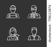 professions chalk icons set.... | Shutterstock .eps vector #758113876