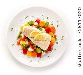 fish dish   fried fish fillet... | Shutterstock . vector #758117020