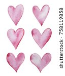 abstract watercolor hearts set  ... | Shutterstock . vector #758119858