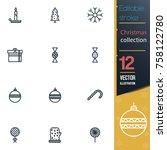 christmas editable stroke... | Shutterstock .eps vector #758122780