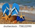 colorful flip flops  starfish ... | Shutterstock . vector #758122990