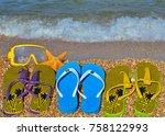 colorful flip flops  starfish... | Shutterstock . vector #758122993
