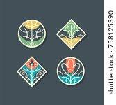 floral decorative design... | Shutterstock .eps vector #758125390