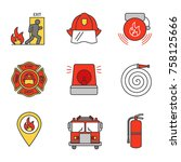 Firefighting Color Icons Set....
