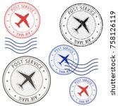 post service airmail colored...   Shutterstock . vector #758126119