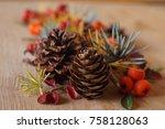 christmas arrangement with...   Shutterstock . vector #758128063