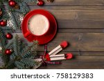 coffee and red gift box. fir... | Shutterstock . vector #758129383