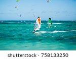 windsurfers on the le morne... | Shutterstock . vector #758133250
