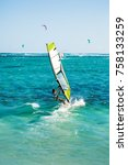 windsurfers on the le morne... | Shutterstock . vector #758133259