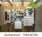 interior modern design room top ... | Shutterstock . vector #758136700