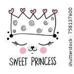 sweet princess typography and... | Shutterstock .eps vector #758137600
