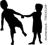 boy and girl playing  silhouette | Shutterstock .eps vector #758141149
