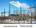 high voltage power lines in the ... | Shutterstock . vector #758142568