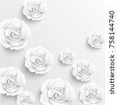 paper flower. white roses cut... | Shutterstock .eps vector #758144740