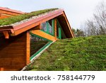 green ecological sod roof on... | Shutterstock . vector #758144779