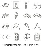 optometry or eye exam icons... | Shutterstock .eps vector #758145724