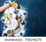 baking background. flour  white ... | Shutterstock . vector #758146270