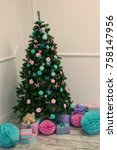 christmas decorated tree and...   Shutterstock . vector #758147956