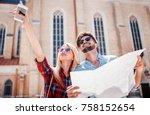beautiful couple on vacation...   Shutterstock . vector #758152654