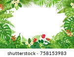 colorful leaves and flowers of... | Shutterstock .eps vector #758153983