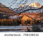 sunset in hight tatras. evening ... | Shutterstock . vector #758158510