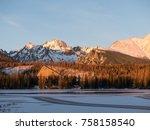 sunset in hight tatras. evening ... | Shutterstock . vector #758158540