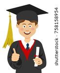 young boy graduate student in a ... | Shutterstock .eps vector #758158954