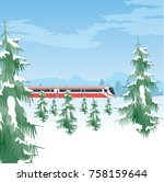 snowy landscape with a train.... | Shutterstock .eps vector #758159644