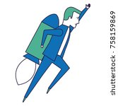businessman with rocket avatar... | Shutterstock .eps vector #758159869