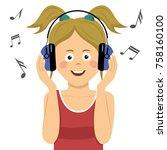 modern teenager girl listening... | Shutterstock .eps vector #758160100