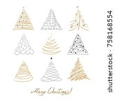 hristmas tree set. cute doodle ... | Shutterstock .eps vector #758168554