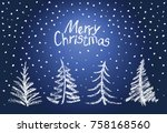 christmas tree set and falling... | Shutterstock .eps vector #758168560