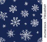 christmas snowflake hand... | Shutterstock .eps vector #758168569