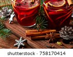christmas mulled wine with...   Shutterstock . vector #758170414