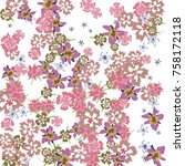 cute floral background for... | Shutterstock .eps vector #758172118