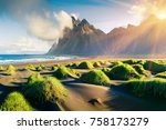impressive summer view of green ... | Shutterstock . vector #758173279