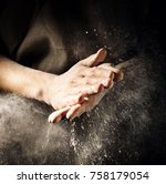 unrecognizable cook clapping... | Shutterstock . vector #758179054
