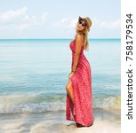 summer lifestyle image of happy ... | Shutterstock . vector #758179534