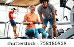 young beautiful woman doing... | Shutterstock . vector #758180929
