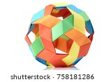 multicolor sphericalal abstract ... | Shutterstock . vector #758181286