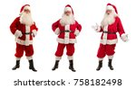 christmas collage of three men... | Shutterstock . vector #758182498