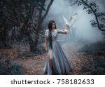 Mysterious sorceress in a beautiful blue dress. The background is a cold forest in the fog. Girl with a white owl. Artistic Photography