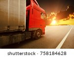 red truck with the grey trailer ... | Shutterstock . vector #758184628