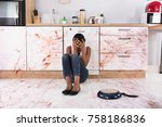 disappointed african woman... | Shutterstock . vector #758186836