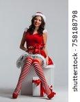 beautiful young pin up girl in... | Shutterstock . vector #758188798