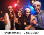 celebrating new year together.... | Shutterstock . vector #758188864