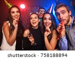 friends making big party in the ... | Shutterstock . vector #758188894