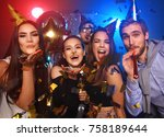 friends making big party in the ... | Shutterstock . vector #758189644