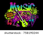 music is my life. colourful... | Shutterstock .eps vector #758190244