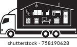 truck relocating household... | Shutterstock .eps vector #758190628